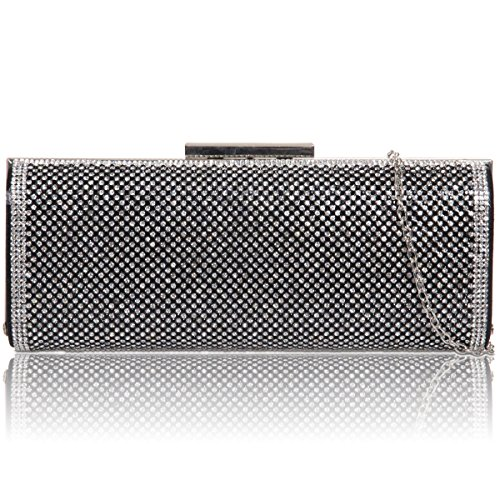 xardi London New Baquette diamante sposa donna clutch damigella d' onore Donne Partito Sera Borse Black