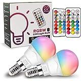 Ampoules à Changement de Couleur(Lot de 2), E14 Télécommande Lampes d'Ambiance avec Fonction de Mémoire et Minuterie, Ampoule