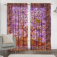 indian morado rbol de la vida cortina de ventana drape mandala algodn ventana cortinas - Cortinas Moradas