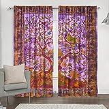 Indian Lila Baum des Lebens Fenster Tuch Vorhang, Baumwolle, Mandala, Gardinen, 2Pretty Ethnic Decor Fenster Panel Set 213,4x 203,2cm