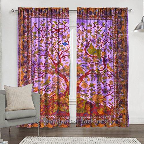 indien Violet Arbre de vie fenêtre drapé Rideau, Mandala Coton Vitrage, 2Pretty ethnique Décor fenêtre Panneau de 213,4x 203,2cm