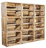 8er Set geflammte Kiste für Bücherregal - flambierte Apfelkiste / Obstkiste als Schuhregal - Kistenregal Regalkiste Obstkistenregal Regal Wandregal aus Holz - dunkel rustikal neu 50x40x30cm
