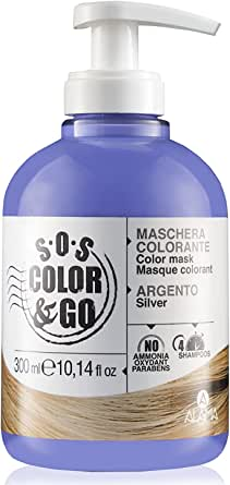 Alama Professional S.O.S. Color & Go Maschera Colorante Anti Giallo per Capelli Naturali, Colorati e con Mèches, Argento, 300 Millilitri