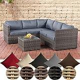 CLP Poly-Rattan Lounge-Set GENERO 5mm l Garten-Set mit 5 Sitzplätzen l Garnitur mit Aluminium-Gestell l Komplett-Set Bestehend aus: 3er Sofa + 2er Sofa + Tisch eisengrau, Grau Meliert