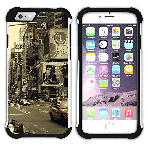 Graphic4You Brooklyn Bridge New York Postkarte Ansichtskarte Design Hart + Weiche Kratzfeste Hülle Case Schale Tasche Schutzhülle für Apple iPhone 6 Plus / 6S Plus Design #9
