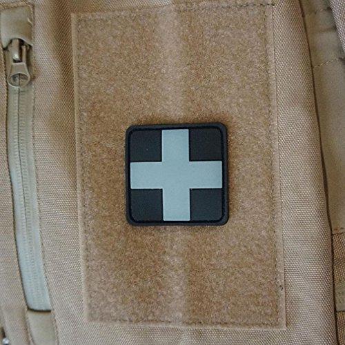 Sanitäter Patch Ersthelfer Arzt Airsoft Erstehilfe Emblem 3D PVC Kreuz Medic Sani Aufnäher Rubber Grau 5x5cm #20343