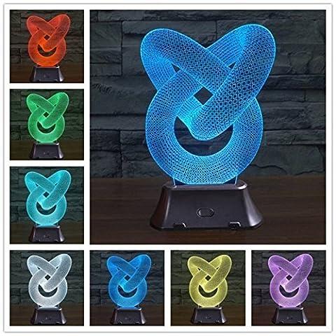 ASDF Illusion Optique Lampe LED 3D Déco Bureau Veilleuse 7 Couleurs [Classe A +++ énergie]