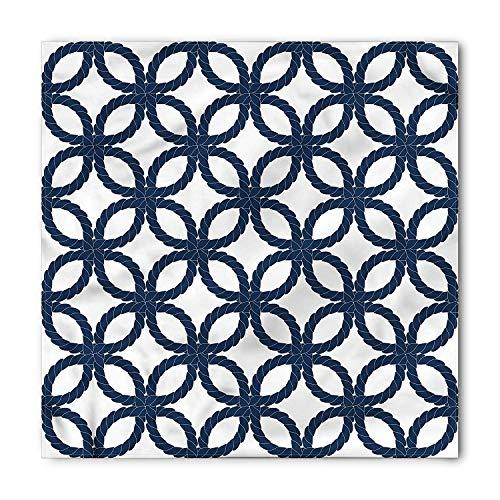 LULABE Navy Blue Bandana, Twisted Marine Rope Motif, Unisex Head and Neck Tie,Unisex Bandana Head and Neck Tie Neckerchief Headdress Silk-Like 100% Polyester(size:M) -