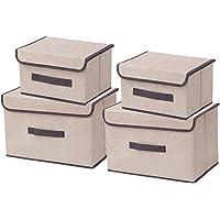 Kewayer Boîtes de Rangement Pliables en Tissu avec Couvercles, Lot de 4 Boîte de Rangement en Coton et Lin pour…