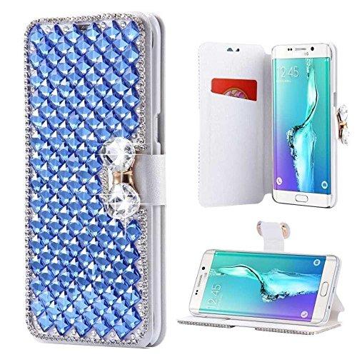 iPhone Kristall Diamant Schmetterling Wallet case-auroralove Luxus Glänzend Big Strass Schleife weich Pu-Leder Seide Print Card Slot Fall für iPhone iphone se/5/5s blau