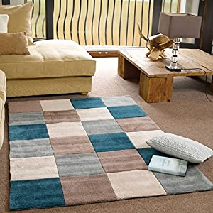 Flair Rugs Infinite Squared Handtufted Rug, Teal/Duck Egg, 120 x 170 Cm by Flair Rugs