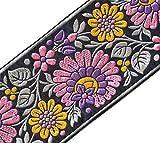 Heritage Trim De Ancho Jacquard RibbonTrim con Púrpura de Maíz Flores 3Ÿ 3 Yardas de Ancho