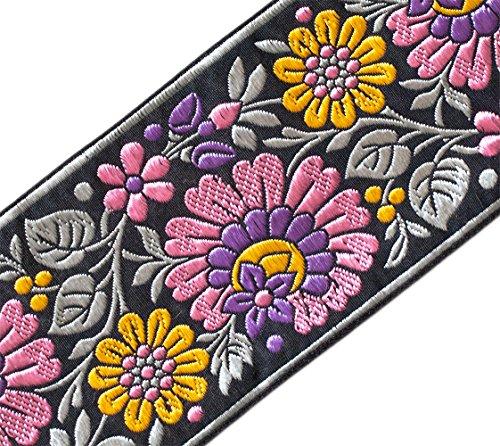 Heritage Trim Breite Jacquard RibbonTrim mit Lila Mais Blumen 3 ¾ Breit 3 ()