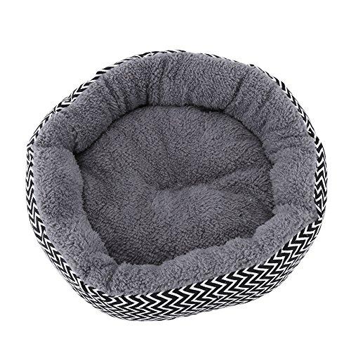 HEEPDD Runde Hundebett, waschbar weiche warme Haustier Bett Kissen Katze Bett Donut Cuddler Pad für kleine Haustiere bis zu 11kg Katzen Welpen (Grau m) -