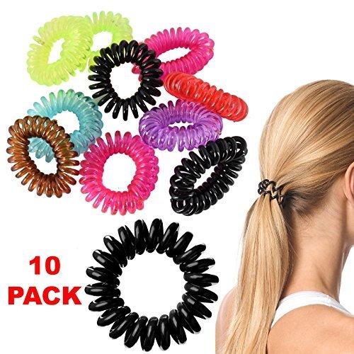 Kinder Mädchen Jugendliche 10 xSpirale Haargummi Bands Seil Elastic Gummi Krawatte Draht Slinky Coil Pferdeschwanz Cute Fashion Trend stylisches Farbige Armband