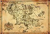 Il Signore Degli Anelli - Mappa Della Terra Di Mezzo Stampa D'Arte (68 x 47cm)