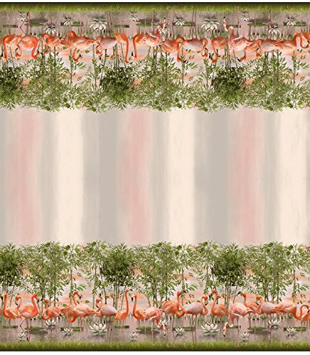 Stoff / Meterware / ab 25cm / beste Jersey-Qualität / Jersey Bordüre Flamingos Bäume rosa / grün