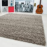 SMALL - EXTRA LARGE SIZE THICK MODERN PLAIN NON SHED SOFT SHAGGY RUGS CARPETS RECTANGLE & ROUND CARPETS COLORS ANTHRACITE BEIGE BROWN CREAM GREEN GREY LIGHTGREY PURPLE RED TERRA NAVY RUGS, Size:160x230 cm, Color:Taupe