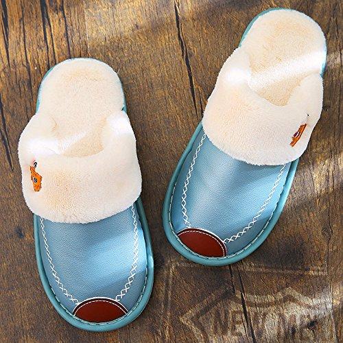 Inverno fankou cotone pantofole camera femmina di spessore non inferiore - Slip maschio caldo inverno home impermeabile in pelle PU pantofole Grün