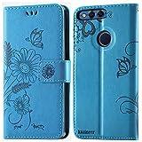 kazineer Cover Honor 7X, Honor 7X Cover Flip Caso in pelle Portafoglio Custodia per Huawei Honor 7X (Turchese blu)