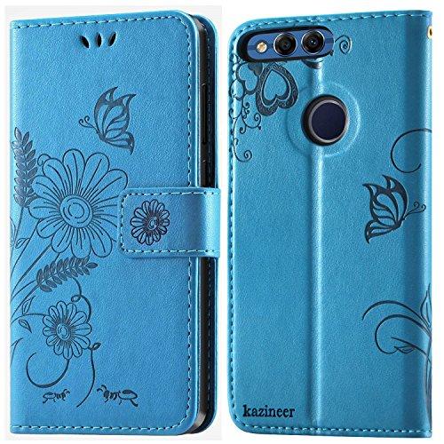 kazineer Honor 7X Hülle, Handyhülle Huawei Honor 7X Leder Tasche Brieftasche Etui Schutzhülle für Huawei Honor 7X Case (Türkis-blau)