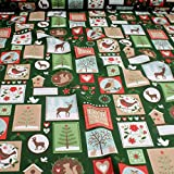 Stoff Weihnachtsstoff Baumwolle grün Patchwork Winter Let it snow