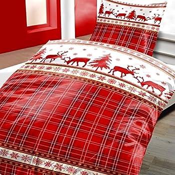 bettw sche weihnachten karo rentier microfaser. Black Bedroom Furniture Sets. Home Design Ideas