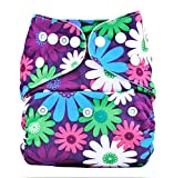 Bumberry Pocket Diaper (Purple Flowers) and 1 Microfiber Insert