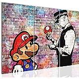 Cuadros de 120 x 80 cm - Cuadro de Mario and Cop by Banksy - Cuadro en lienzo no tejido - Imagen artística en lienzo para la pared - Impresión de arte – Imagen para la pared – Formato XXL –Más colores y tamaños en la tienda – ¡¡¡Totalmente estirados!!! ¡¡¡100 % FABRICADOS EN ALEMANIA!!! - 303031c