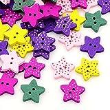 100 Stück Bunt Sterne Kinderknöpfe Knöpfe mit 2 Loch Holzknöpfe Mischung,16mm