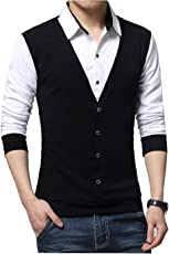 Seven Rocks Men's Cotton Waist Coat Style Tshirt (T16-NBWH)