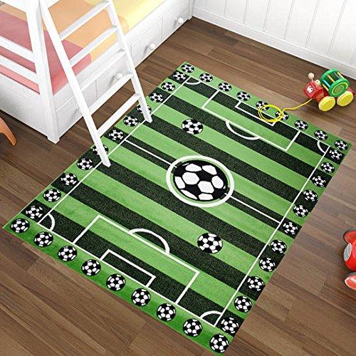 Alfombra Infantil Moderna – Color Verde Diseño Campo De Fútbol – Suave – Fácil De Limpiar – Mejor Calidad – Diferentes Dimensiones S-XXXL 140 x 190 cm