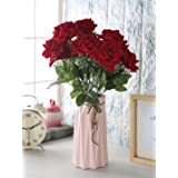Fourwalls Artificial Velvet Rose Bouquet (40 cm, Red, 7 Branches)