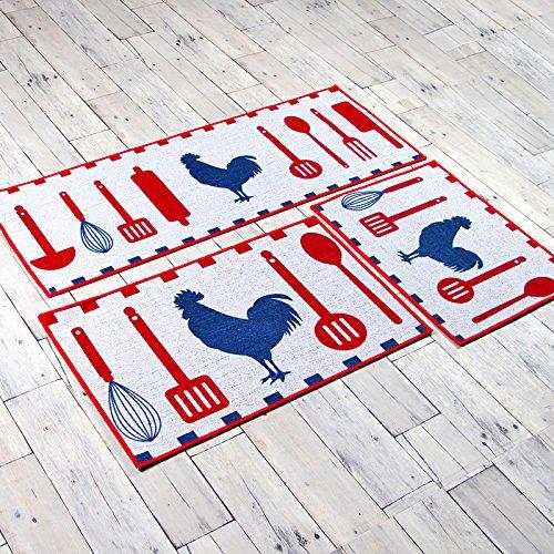 Preisvergleich Produktbild Amerikanische Garten Küche mat Mat, rutschfest, wasser Absorption in der Tür, Matten, Cartoon square Teppich waschbar, 45 x 60 cm, Küche Symphonie
