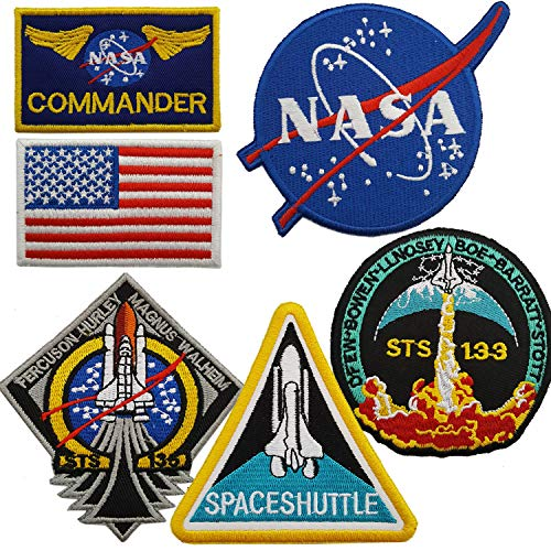 Lightbird NASA Space Patches 6 Stück, bestickt zum Aufnähen/Haken und Schlaufe auf der Rückseite, Weltraum-Aufnäher, US-Flagge