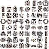 RUBYCA Tibetan Silver Tone Color Spacer Loose Beads Fit European Charm Bracelet Mix 120 Pcs Lot For DIY by RUBYCA