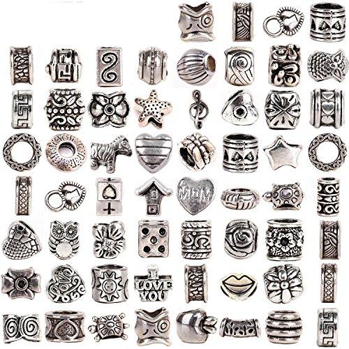 rubyca Tibetisches Silber Ton Farbe Distanzhalter Lose Passform Europäische Charm-Armband Mix Viel für DIY, metall, silber, 60pcs (Floral Cross Kit)