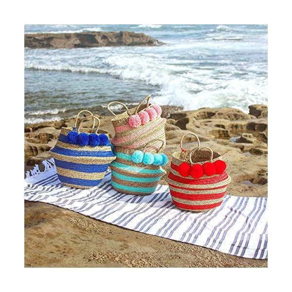 """Brunna Blue """"Stripes Tribes Classic"""" Beach Basket / Beach Bag, Bridesmaid Bag, Pompom Bag, Boho Bag, Pom-pom Straw Bag, Pom-pom Bag, Nursery Basket, Storage Basket - handmade-bags"""