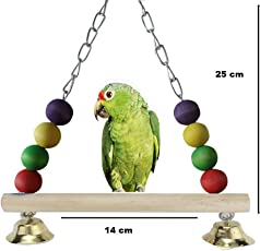 Pets Empire Swing Perch for Parrot Budgie Conure African Grey Parakeet Cockatiel Lovebird Finch