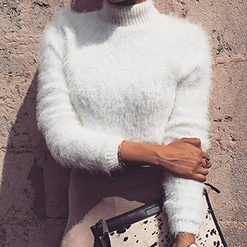 Donna Maglione Collo Alto Maniche Lunghe Pullover Corto Maglia Maglione Casuale Tops Maglietta Beige
