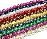 300Perle di Vetro, Imitazioni di Perle Rotondo 6mm 10colori 10fili di vetro, Imitazioni di Perle Mix Beads Gioielli Perle da Infilare D58