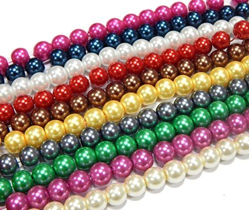 Perlin - 10 Stränge Glaswachsperlen 8mm Glasperlen Wachsperlen 10 Farben Konvolut Kugel Bastelset Perlenset Perlenmischung Schmuckperlen zum Fädeln Glass Pearl Beads D57
