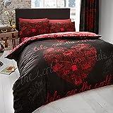 Just Contempo modernen Herzen Bedruckte Bettwäsche mit Städte Gedruckt-Bettbezug mit Kissenhülle, schwarz, Doppelbett