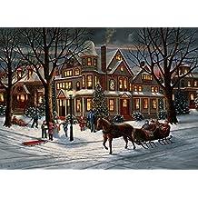 Caja de tarjetas de Navidad para la víspera de Navidad, 15 tarjetas y 16 sobres de papel forrados