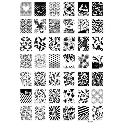 Plates Halloween-Nagel-Kunst-Stempel-Schablone Geist-Schläger Blumen Bild Stempelplatte ()