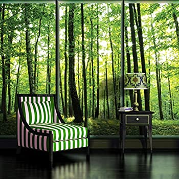 1wall stunning green forest green trees and sunrise for 1wall forest wallpaper mural