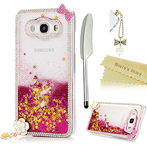 Mavis's Diary Samsung Galaxy J5 Case (2016 Model) - 3D Handmade Bling Crystal Gems Pink Bow Shiny Diamonds Glitter Clear Transparent Hard PC Cover with Sparkly Flowing Liquid Stars & White Flower Pendant with Dust Plug & Stylus for Samsung Galaxy J5 (Not for 2015/2017 Model) - Deep Pink