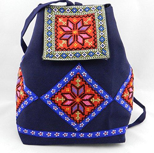 Vento nazionale donne sacchetti fiore ricamo Borse Tracolla zaino di viaggio personalizzato retrò borse casual, verde chiaro Big Red