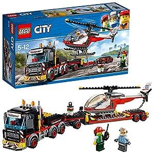 LEGO City Great Vehicles - Camión de Transporte de Mercancías Pesadas, Juguete de Construcción con Helicóptero para Niños y Niñas de 5 a 12 Años, Incluye Minifiguras (60138)