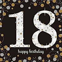 Amscan Sparkling Gold 18th Birthday Celebration Napkins (Pack Of 16)